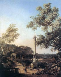 English Landscape Capriccio with a Column | Canaletto | Painting Reproduction