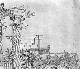A View of Roofs: Landscape Sketch, c.1740 von Canaletto | Gemälde-Reproduktion