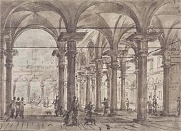 Architectural Design (Piazza with Open Colonnade) | Canaletto | Painting Reproduction