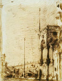 The Piazza Looking North-West with the Narthex of San Marco | Canaletto | Painting Reproduction