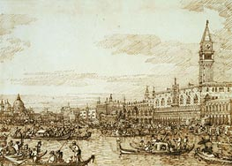The Bacino Looking West on Ascension Day, c.1734 by Canaletto   Painting Reproduction