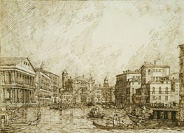 The Lower bend of the Grand Canal, Looking North, c.1734 by Canaletto   Painting Reproduction