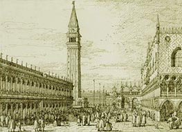 The Piazzetta Looking North, c.1735/40 by Canaletto   Painting Reproduction