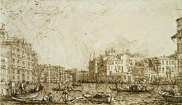 The Lower Bend of the Grand Canal Looking North-West, c.1734 by Canaletto   Painting Reproduction