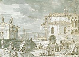Capriccio of the Fontegheto della Farina, c.1735/40 by Canaletto   Painting Reproduction