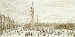 The Piazza from the Torre dell'Orologio, c.1740 by Canaletto | Painting Reproduction