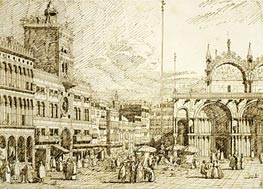 The Torre dell'Orologio and part of San Marco, c.1740/45 by Canaletto | Painting Reproduction