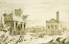 Rome: The Arch of Septimius Severus, c.1742 von Canaletto | Gemälde-Reproduktion