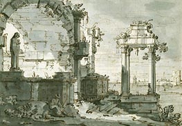 A Capriccio of Church Ruins on the Shores of the Lagoon, c.1740/45 von Canaletto | Gemälde-Reproduktion