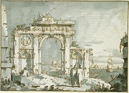 A Capriccio of a Ruined Arch on the Shores of a Lagoon, c.1740/45 von Canaletto | Gemälde-Reproduktion