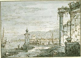 A Coastal Capriccio, c.1740/45 by Canaletto | Painting Reproduction