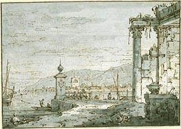 A Coastal Capriccio, c.1740/45 von Canaletto | Gemälde-Reproduktion