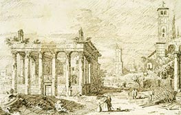Rome: The Temple of Antoninus and Faustina, c.1742 von Canaletto | Gemälde-Reproduktion