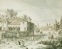 A Villa on the Outskirts of Padua, c.1742 von Canaletto | Gemälde-Reproduktion