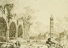 Rome: the Forum with the Basilica of Constantine and S. Francesca Romana, c.1742 von Canaletto | Gemälde-Reproduktion