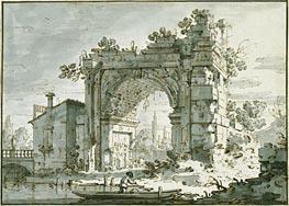 A Capriccio with a Roman Arch, c.1742/45 von Canaletto | Gemälde-Reproduktion