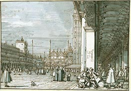 The Piazza Looking North-East from the Procuratie Nuove, c.1745 von Canaletto | Gemälde-Reproduktion