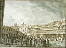 The Piazza Looking West from the Procuratie Nuove, c.1745 von Canaletto | Gemälde-Reproduktion