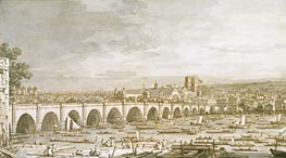 Westminster Bridge, London, with a Procession of Civic Barges, c.1747 von Canaletto | Gemälde-Reproduktion