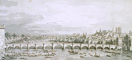 Westminster Bridge, London, c.1747 von Canaletto | Gemälde-Reproduktion