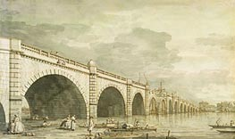 London: Westminster Bridge under Construction, c.1750 von Canaletto | Gemälde-Reproduktion