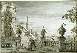 A Capriccio with a Monumental Staircase, c.1755/60 von Canaletto | Gemälde-Reproduktion