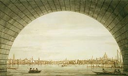 London: The City Seen through an Arch of Westminster Bridge, c.1750 von Canaletto | Gemälde-Reproduktion