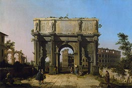 View of the Arch of Constantine with the Colosseum, c.1742/45 von Canaletto | Gemälde-Reproduktion