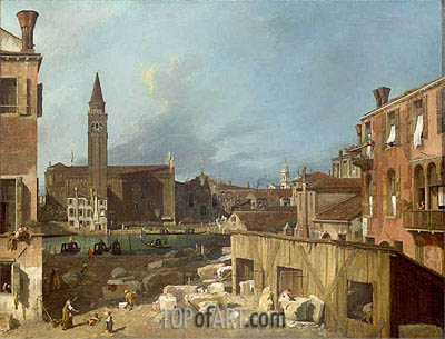The Stonemason's Yard, c.1725/26 | Canaletto| Gemälde Reproduktion