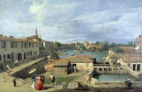 A View of Dolo on the Brenta Canal, c.1727/40 | Canaletto| Gemälde Reproduktion