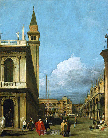 Piazzetta Towards the Torre dell'Orologio, 1730 | Canaletto| Painting Reproduction