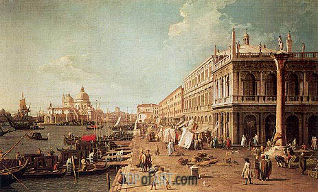Molo with the Library, Looking Towards the Zecca, b.1740 | Canaletto| Painting Reproduction