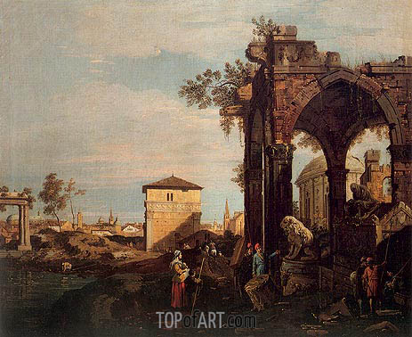 Landscape with Ruins, 1740 | Canaletto| Gemälde Reproduktion
