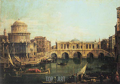 Capriccio of the Grand Canal with an Imaginary Rialto Bridge, 1744 | Canaletto| Painting Reproduction