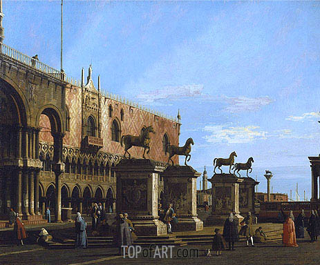 Venice: Caprice view of the Piazzetta with the Horses of St. Marco, c.1743 | Canaletto| Gemälde Reproduktion