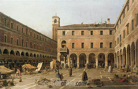Campo di Rialto, c.1756 | Canaletto| Painting Reproduction