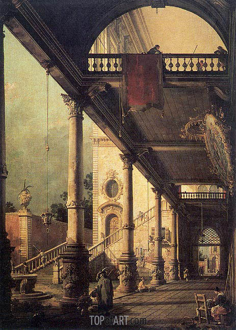Architectural Capriccio with a Colonnade, 1765 | Canaletto | Painting Reproduction