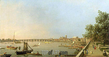 Canaletto | The Thames from the Terrace of Somerset House, looking upstream Towards Westminster and Whitehall, c.1750
