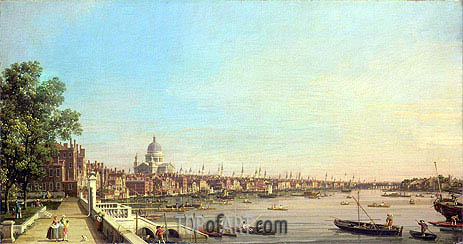 Canaletto | The Thames from the Terrace of Somerset House Looking Towards St. Paul's, c.1750