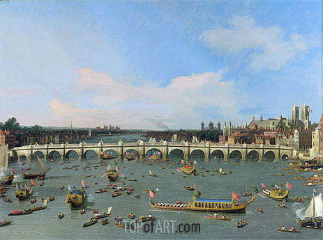 Westminster Bridge, London, With the Lord Mayor's Procession on the Thames, undated | Canaletto| Painting Reproduction