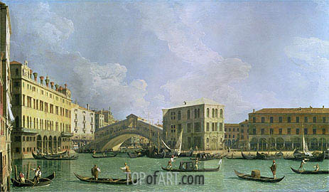 View of the Rialto Bridge, North, c.1734/35 | Canaletto | Gemälde Reproduktion