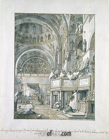 The Choir Singing in St. Mark's Basilica, Venice, 1766 | Canaletto | Painting Reproduction