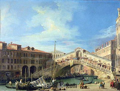 View of the Rialto Bridge at Venice, South, c.1727 | Canaletto | Gemälde Reproduktion