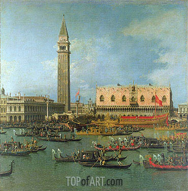 View of the Palace of St Mark, Venice, with Preparations for the Doge's Wedding, undated | Canaletto | Painting Reproduction