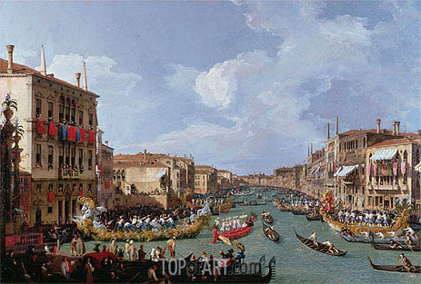 Regatta on the Grand Canal, c.1735 | Canaletto| Painting Reproduction