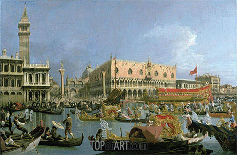 The Bucintoro returning to the Molo, c.1733 | Canaletto | Painting Reproduction