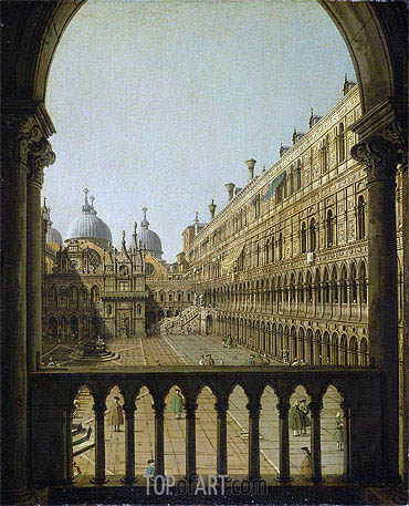 Interior Court of the Doge's Palace, Venice, c.1756 | Canaletto | Painting Reproduction