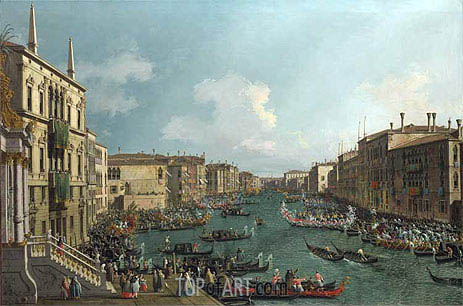 Venice: A Regatta on the Grand Canal, c.1735 | Canaletto | Painting Reproduction