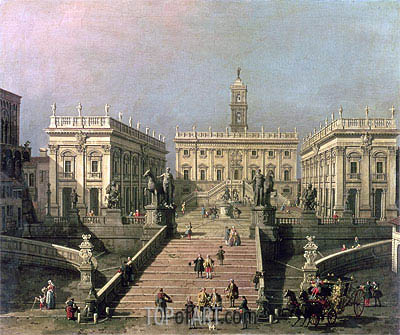 View of Piazza del Campidoglio and Cordonata, Rome, undated | Canaletto| Painting Reproduction