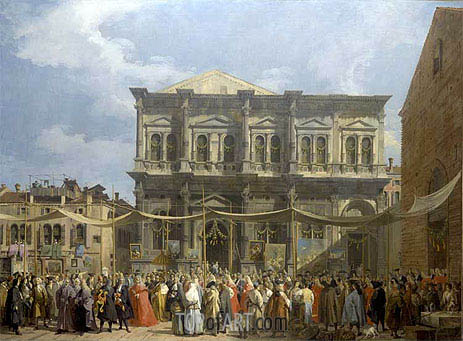 Venice: The Feast Day of Saint Roch, c.1735 | Canaletto | Gemälde Reproduktion